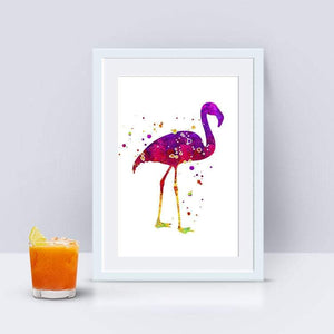 Flamingo Print, Watercolor Art Poster - PrintsFinds