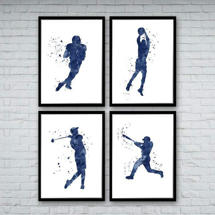 Football Baseball Basketball Golf Sports Art Set of 4 Watercolor Prints