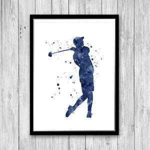 Football Baseball Basketball Golf Sports Art Set of 4 Watercolor Prints - PrintsFinds