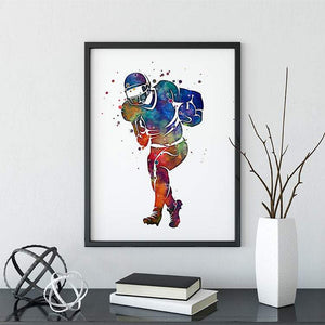 Football Player Watercolor Print - PrintsFinds