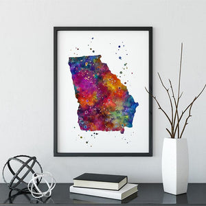 Georgia GA USA State Map Watercolor Print - PrintsFinds