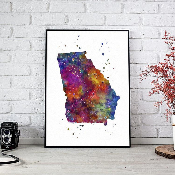 Georgia GA USA State Map Watercolor Print