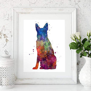 German Shepherd Watercolor Print - PrintsFinds