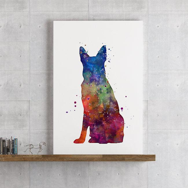 German Shepherd Watercolor Print