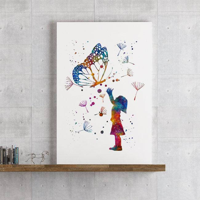 Girl And Butterfly Watercolor Print Kids Room Wall Art Home Decor