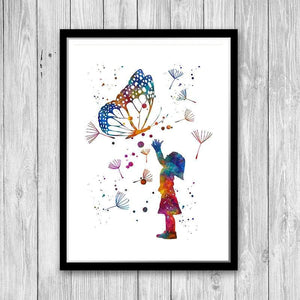 Girl And Butterfly Watercolor Print Kids Room Wall Art Home Decor - PrintsFinds