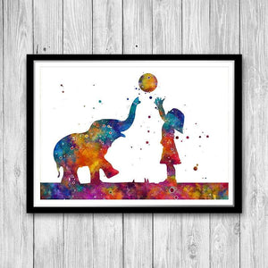 Girl And Elephant Watercolor Print Kids Room Wall Art Home Decor - PrintsFinds