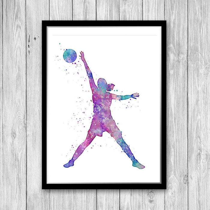 Girl Basketball Watercolor Print Home Decor