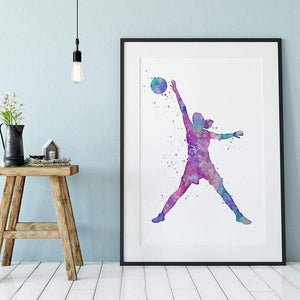 Girl Basketball Watercolor Print Home Decor - PrintsFinds