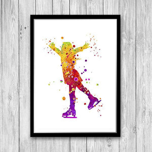 Girl Ice Skater, Ice Skating Print - PrintsFinds