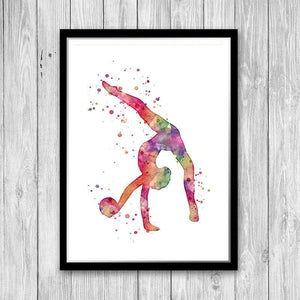 Girl Rhythmic Gymnast with Ball Watercolor Print - PrintsFinds
