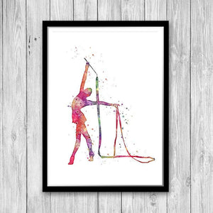 Girl Rhythmic Gymnast with ribbon Pink Decor For Girl Room - PrintsFinds