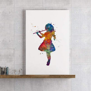 Girl With a Flute Watercolor Print Girls Room Wall Art Music school Decor - PrintsFinds