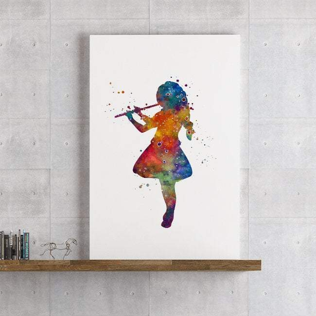 Girl With a Flute Watercolor Print Girls Room Wall Art Music school Decor