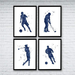 Golf art Football art Prints set of 4 blue watercolor prints - PrintsFinds