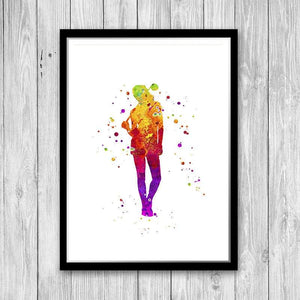 Golf women player watercolor print - PrintsFinds