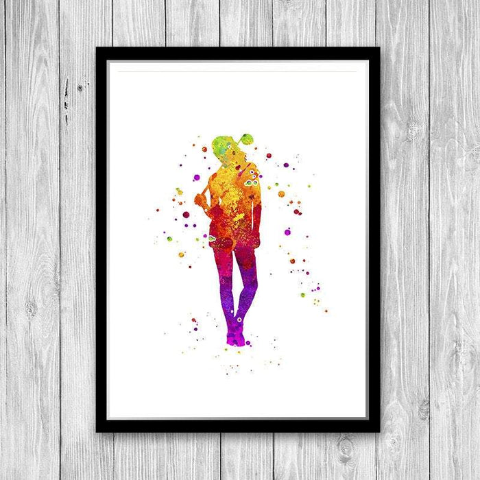 Golf women player watercolor print