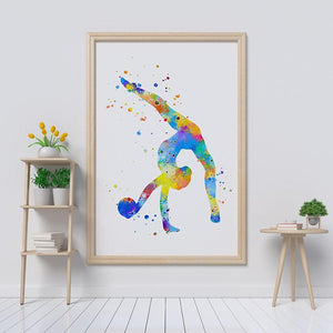 Gymnast Watercolor Print Sports Art Poster - PrintsFinds