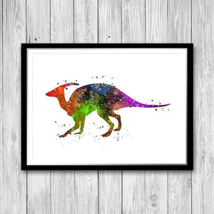Hadrosaur Dinosaur Watercolor Art Print - PrintsFinds