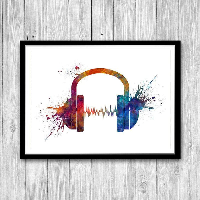 Headphone Music Art Watercolor Print Earphones Poster