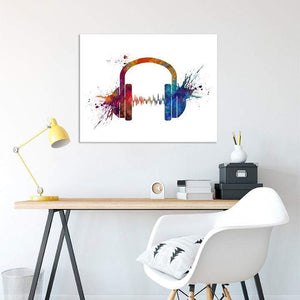 Headphone Music Art Watercolor Print Earphones Poster - PrintsFinds