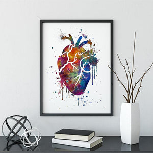 Heart splash art print, Cardiologist Office Decor - PrintsFinds