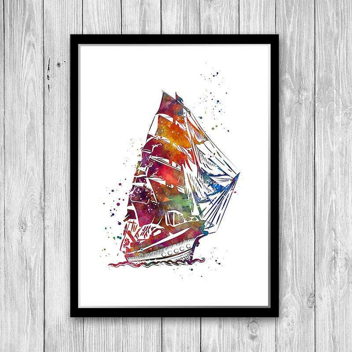 Heavy Frigate Watercolor Print Old Ironsides Ship for Kids Room decor