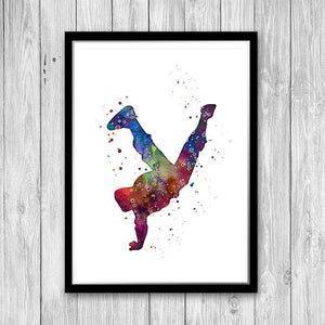 Hip Hop boy dancer Watercolor Print - PrintsFinds