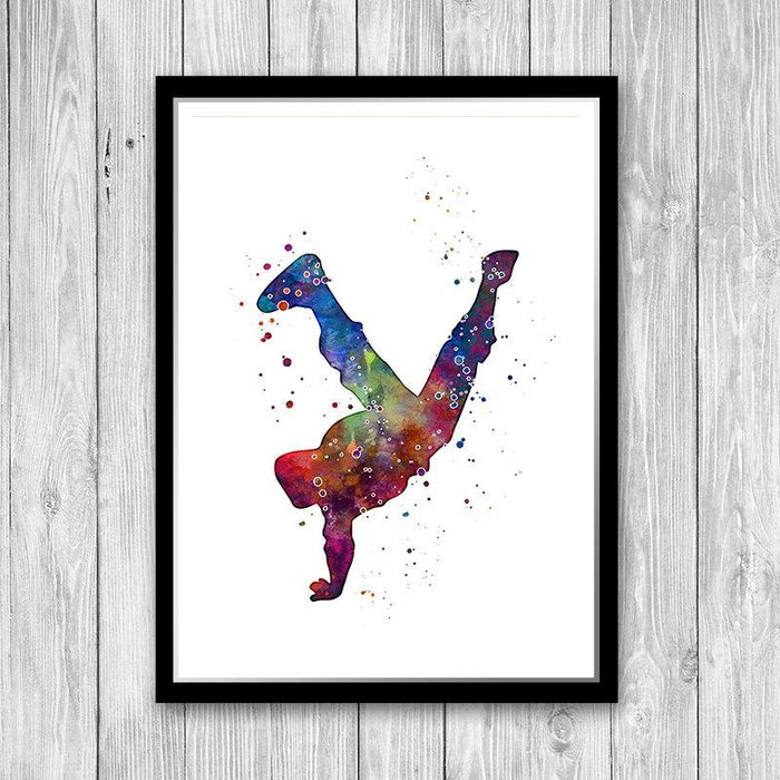 Hip Hop boy dancer Watercolor Print