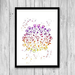 HIV Virus Molecule Watercolor Art Print - PrintsFinds