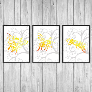 Honey Bee Prints Set of 3 - PrintsFinds