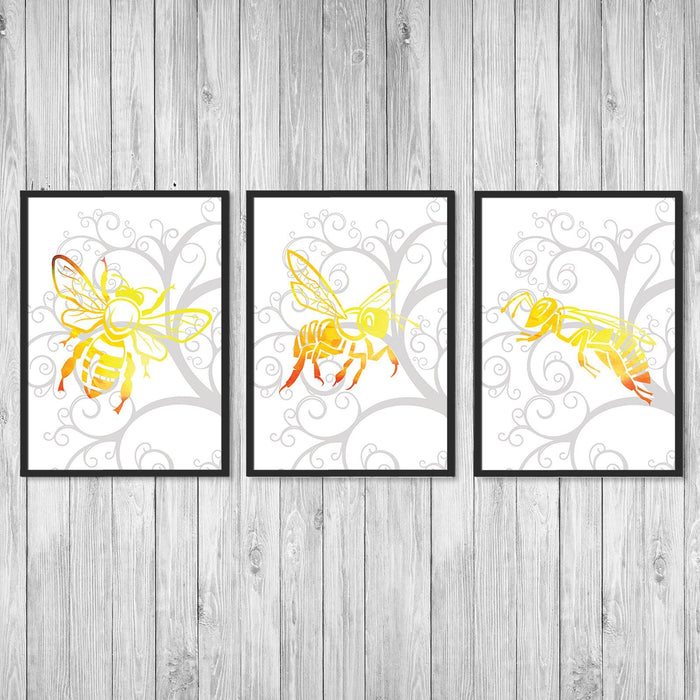 Honey Bee Prints Set of 3