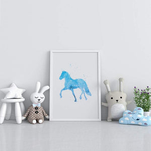 Horse Art light blue and gray Watercolor Print - PrintsFinds