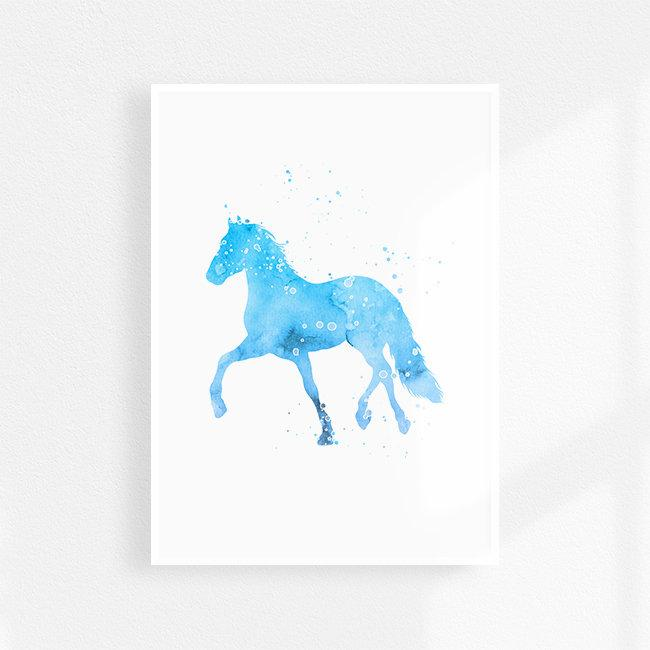 Horse Art light blue and gray Watercolor Print