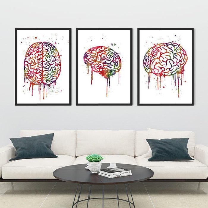 Human Brain Set of 3 prints