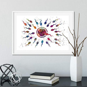 Human Fertilization Egg and Sperm Watercolor Art Print - PrintsFinds
