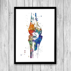 Human Knee Bones Watercolor Print - PrintsFinds