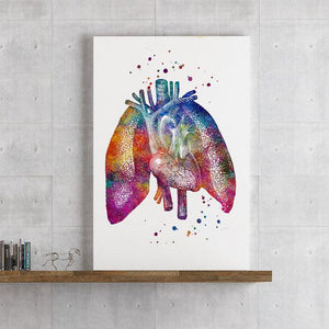 Human Lungs And Heart Watercolor Print - PrintsFinds