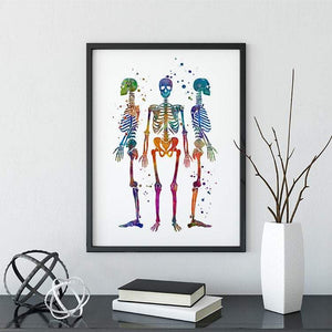 Human Skeletons Watercolor Print - PrintsFinds