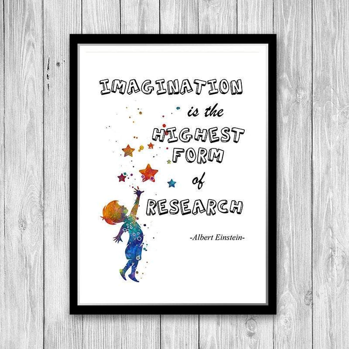 Imagination is the highest form of research - Einstein Quote Art Print