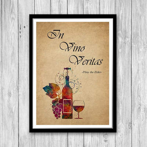 In Vino Veritas Quote Art Print, Winery Rustic Decor - PrintsFinds