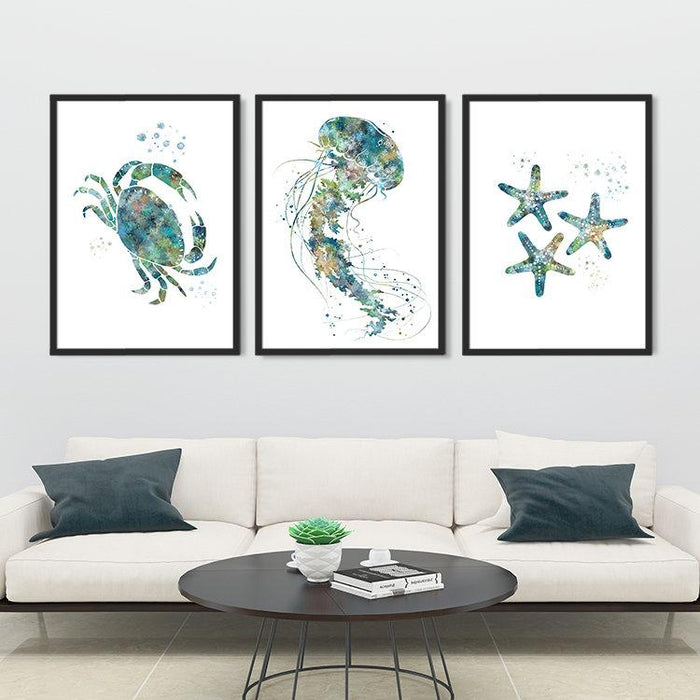 Jellyfish Crab Starfish set of 3 art prints