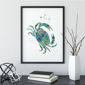 Jellyfish Crab Starfish set of 3 art prints - PrintsFinds