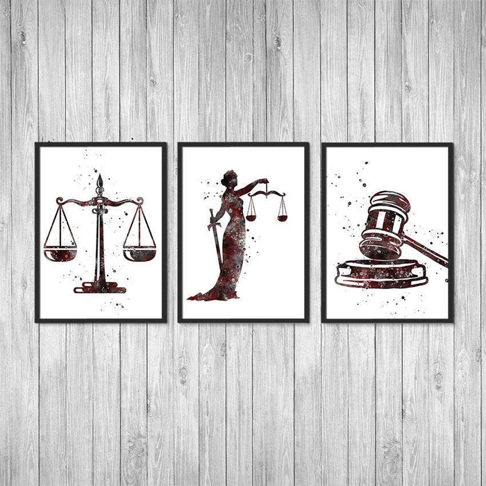 Lawyer gift for women Law office decor Set of 3 watercolor prints