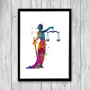 Lawyer Gift For Women Themis Lady Justice Watercolor Print Law Office Wall Art - PrintsFinds