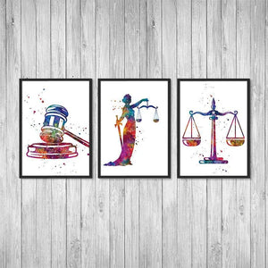 Lawyer Office Decor Set of 3 Watercolor Art Prints Lady Justice, Scales Of Justice, Gavel - PrintsFinds