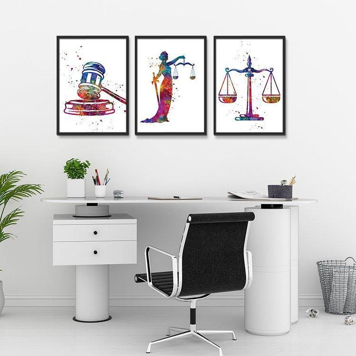 Lawyer Office Decor Set of 3 Watercolor Art Prints Lady Justice, Scales Of Justice, Gavel