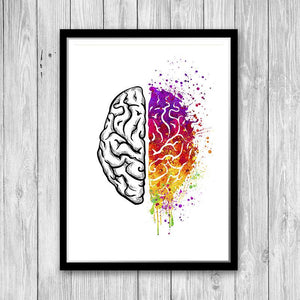 Left and Right Brain Watercolor Art Print - PrintsFinds