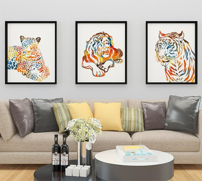 Leopard, Tiger and Lion Print Set of 3