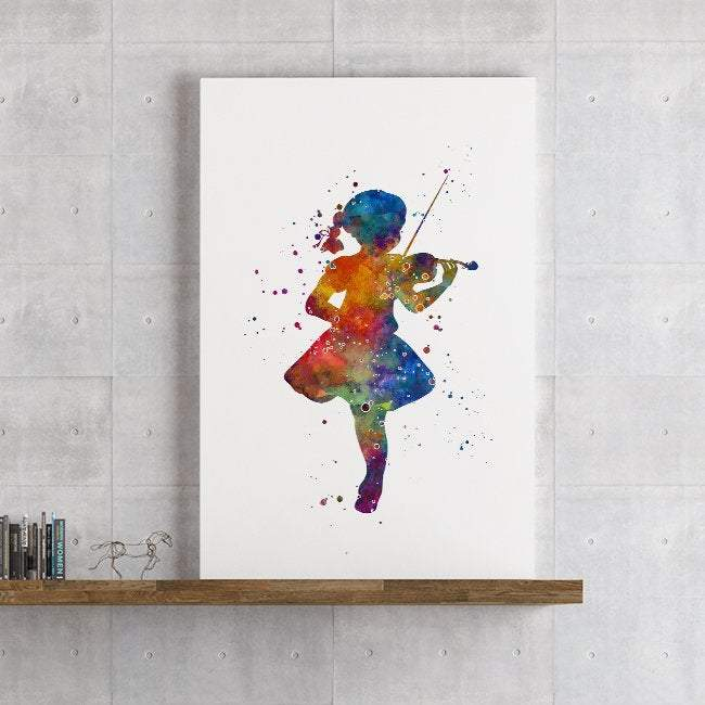 Little Girl play viola Watercolor Print